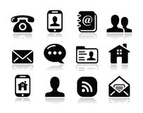 Contact black icons set - mobile, user, email Royalty Free Stock Image