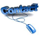 Contact bleu en ligne Photo stock