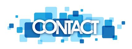 Free CONTACT Blue Overlapping Squares Banner Stock Images - 119572574