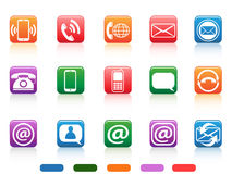 Contact button icons set Royalty Free Stock Images