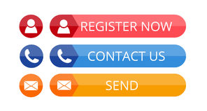 Contact buttons in flat style Stock Photo