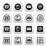 Contact buttons - mobile, phone, email, envelope Royalty Free Stock Images