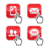 Contact buttons set with cursor hand icon. Red contact buttons with pixelated cursor hand Royalty Free Stock Photos