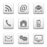 Contact buttons set, e-mail icons Royalty Free Stock Photo