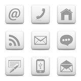 Contact buttons set, e-mail icons Stock Photo
