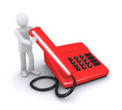 Contact center. Man who holds telephone handset, call us vector illustration