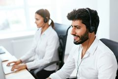 Contact Center Agent Consulting Customers Online Royalty Free Stock Image