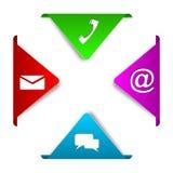 Contact coloré réglé d'éléments avec des icônes Photo libre de droits