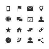 Contact and communication internet vector icons. Home, phone and email web symbols. Contact monochrome sign illustration Royalty Free Stock Image