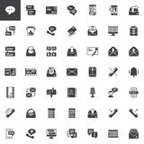 Contact and communication vector icons set. Modern solid symbol collection, filled style pictogram pack. Signs, logo illustration. Set includes icons as Stock Photo