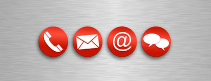 Contact and communications icons. A series of red and white icons for communications and contacting Royalty Free Stock Photos