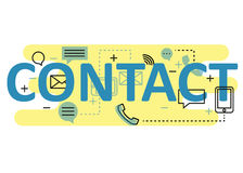 Contact concept flat line design with icons and elements. Modern contact concept s collection. Contact concept lettering Stock Image