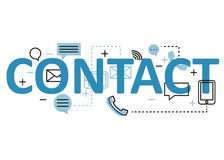 Contact concept flat line design with icons and elements. Modern contact concept s collection. Contact concept lettering Stock Images
