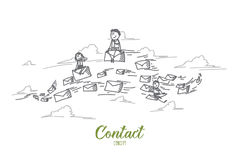 Free Contact Concept. Hand Drawn Isolated Vector Stock Photo - 96812100