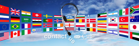 Contact concept , headset with flags on sky, and contact us text Stock Images