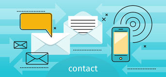Contact Concept Message and Speech Bubble Stock Images