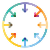 Contact connection icon. A colorful contact connection icon in the shape of a circle with arrows pointing to the middle of it Royalty Free Stock Photo