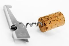 Contact-corkscrew And Wine Fuse Royalty Free Stock Photos