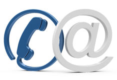 Contact. 3d generated picture of a blue phone an a white at sign vector illustration