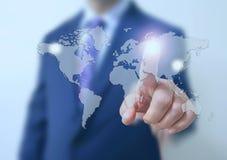 Contact d'homme d'affaires l'écran Photo libre de droits