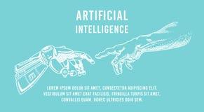 Contact de main Android et humain Bannière d'intelligence artificielle Affiche bionique de bras Future technologie Vintage gravé illustration libre de droits
