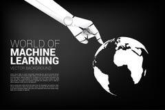 Contact de main de robot le doigt avec le globe du monde illustration de vecteur