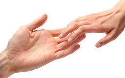 Contact de mains d'homme et de femme Image libre de droits