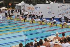Contact de natation, Paris. Images stock