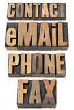 Contact, email, phone, fax word set Royalty Free Stock Image