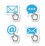 Contact - envelope, email, speech bubble  with cursor hand icons Stock Image