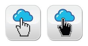 Contact - enveloppe, email, bulle de la parole avec des icônes de main de curseur Photo stock