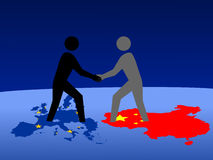 Contact européen et chinois Photographie stock