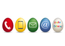 Contact Happy Easter Colored Eggs Royalty Free Stock Photography