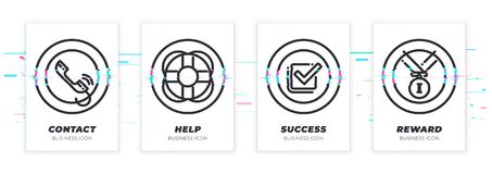 Contact, help, success, reward. Business theme glitched black icons set. Scalable vector objects on transparent background. Modern distorted glitch style Royalty Free Stock Image
