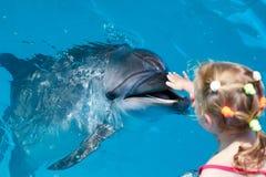 Contact heureux de main d'enfant un dauphin Images stock