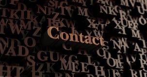 Contact - Houten 3D teruggegeven brieven/bericht Stock Afbeeldingen