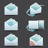 Contact icon set. Contact and mail icon set in envelope icon model Stock Images