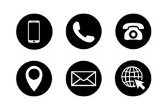 Contact icon set. Phone, location, mail, web site.