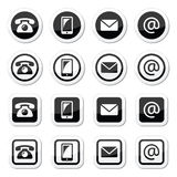 Contact icons in circle and square set - mobile, phone, email, envelope Royalty Free Stock Photos