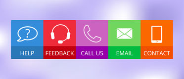 Contact icons in flat style Royalty Free Stock Images