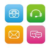 Contact icons - flat style icons stock illustration