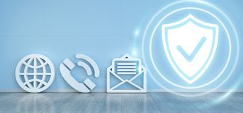 Contact icons hacking concept 3D rendering. Contact icons in modern interior hacking concept 3D rendering Stock Photo