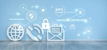 Contact icons hacking concept 3D rendering. Contact icons in modern interior hacking concept 3D rendering Royalty Free Stock Image