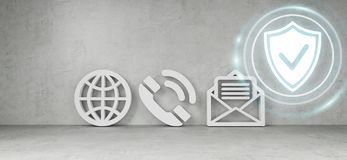 Contact icons hacking concept 3D rendering. Contact icons in modern interior hacking concept 3D rendering Royalty Free Stock Images