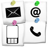 Contact Icons On Post It Stock Photography