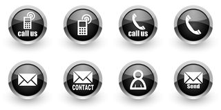 Contact icons set Stock Photography