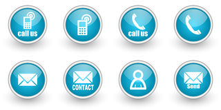 Contact icons set Stock Images