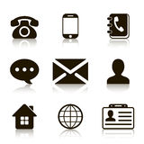 Contact Icons Set with reflection Royalty Free Stock Photo