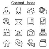 Contact icons set for social network in thin line style Royalty Free Stock Photos