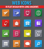 Contact icons set. Contact web icons in flat design with long shadows Stock Photography